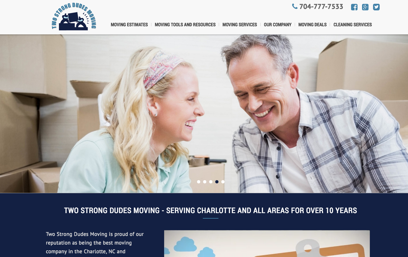 New Website Design for Two Strong Dudes Moving